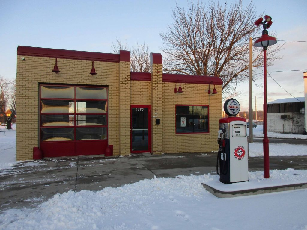 exterior of historic gas station