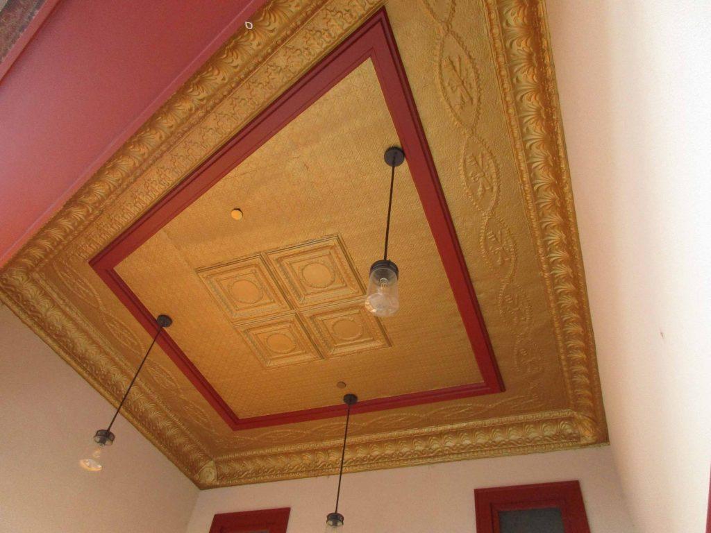 exterior tin ceiling of Ideal Theatre