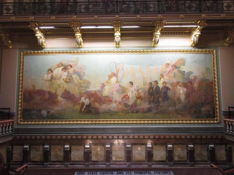 Iowa capitol Westward mural