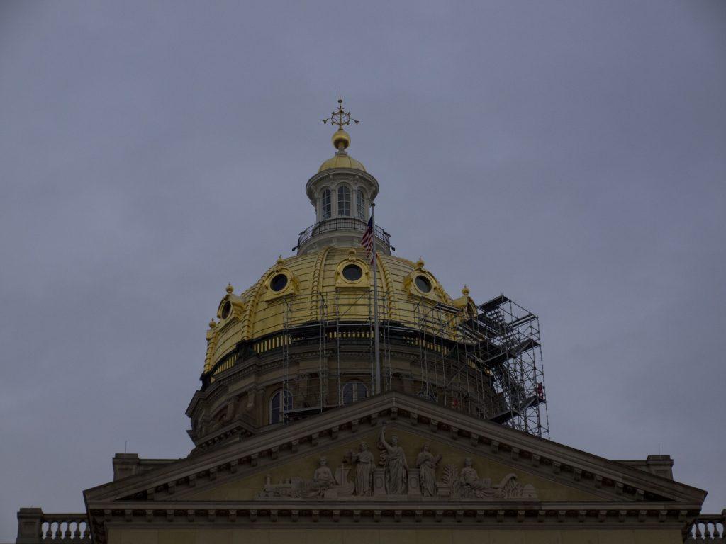 closeup of Iowa State Capitol capitol