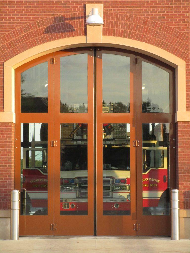 modern fire station door