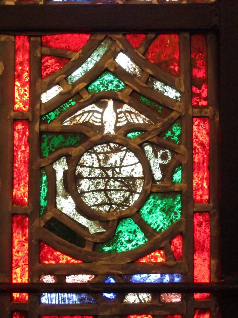 military emblem in stained glass
