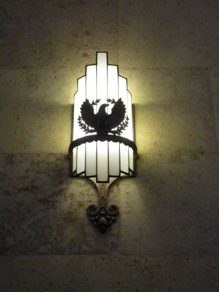 sconce with eagle emblem