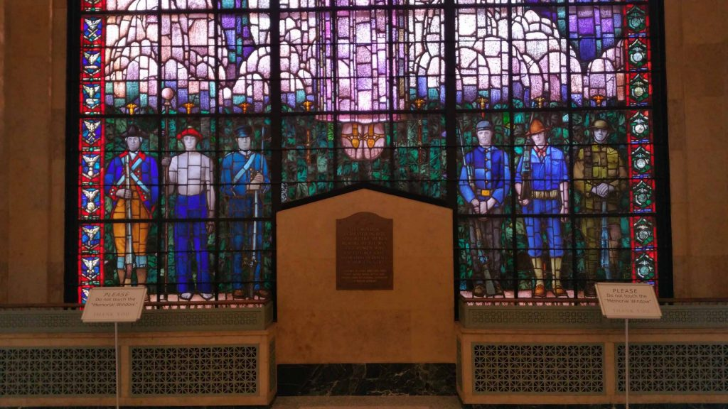 Group of soldiers in stained glass