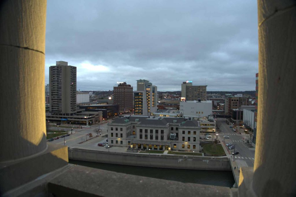 view from the top of Veterans Memorial Building