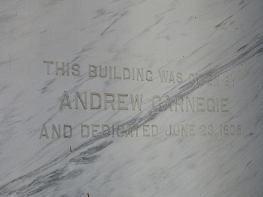 Andrew Carnegie inscription in marble exterior