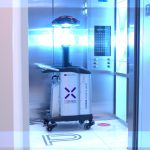 UVC disinfection machine in an elevator
