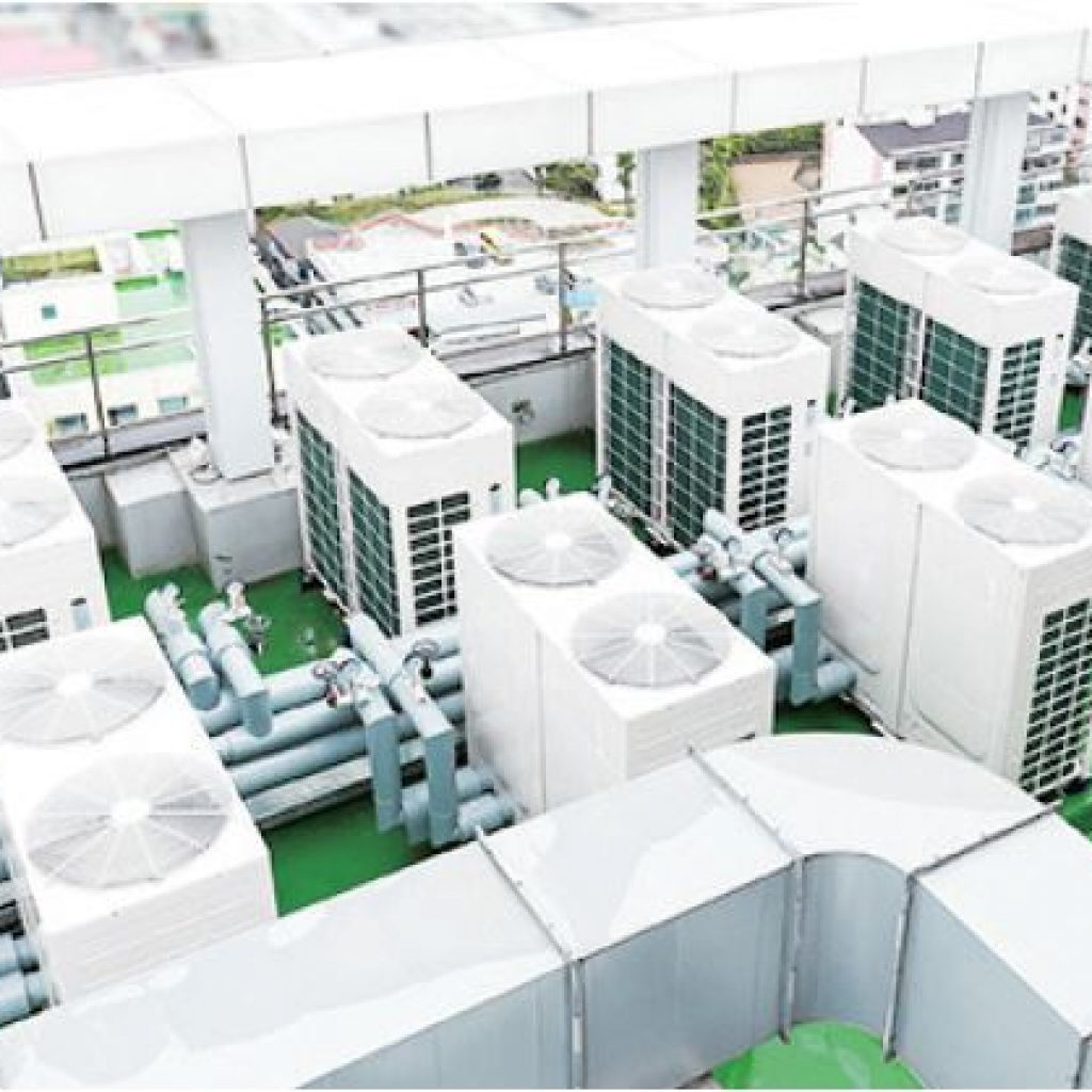 rows of white modular chillers